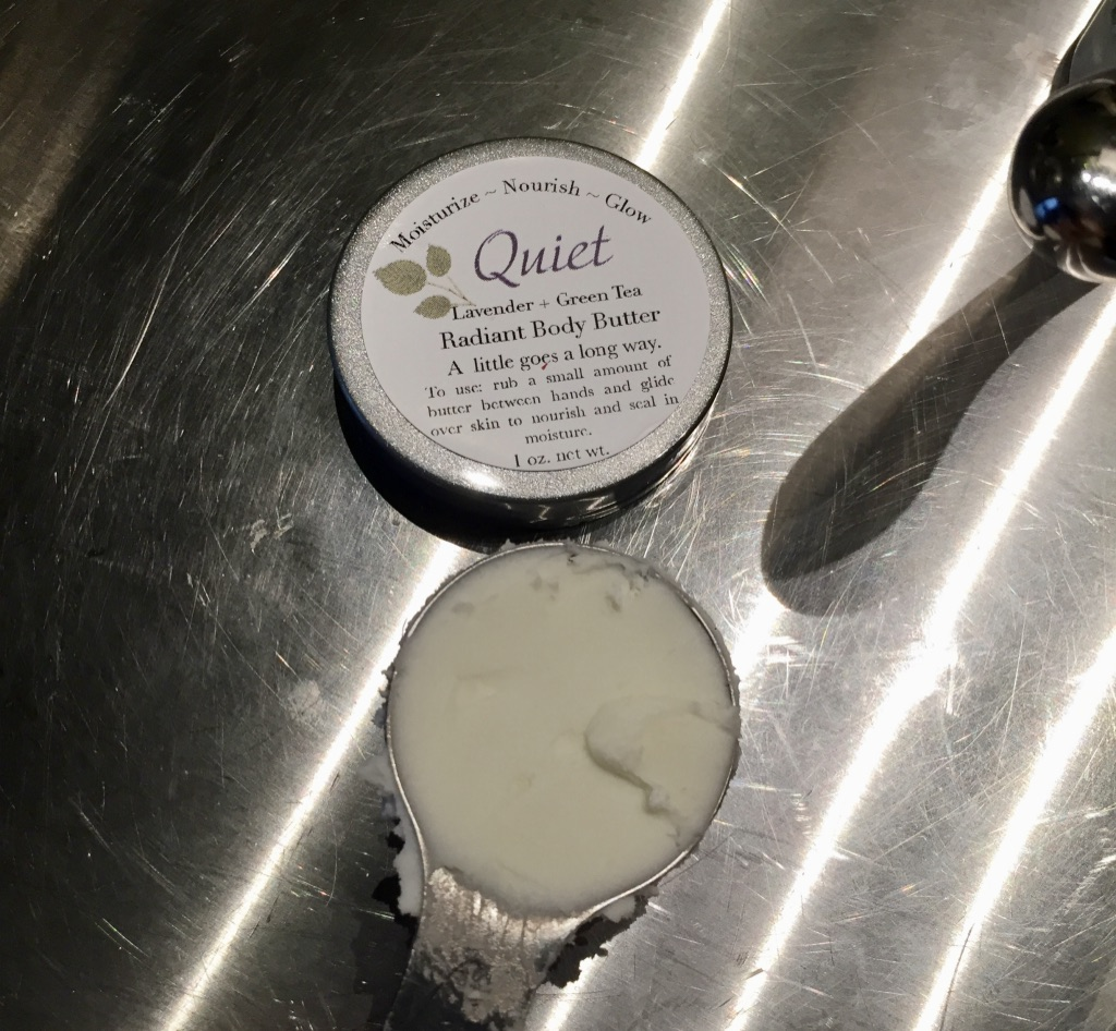 One tablespoon of New Leaf Naturals Radiant Body Butter - Quiet (lavender + green tea) scent