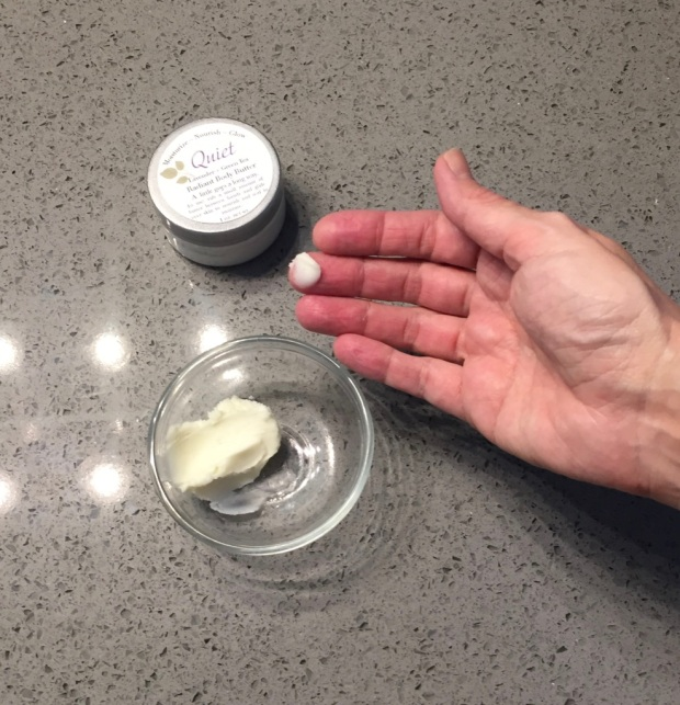 Use about half a pea sized amount of body butter to moisturize your hands, face, and neck New Leaf Naturals Radiant Body Butter, Quiet (lavender + green tea) scent.